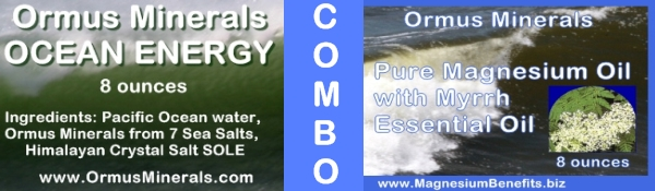 Combo Set Ormus Minerals Ocean Energy & PURE Magnesium Oil with Myrrh Essential Oil 8 oz