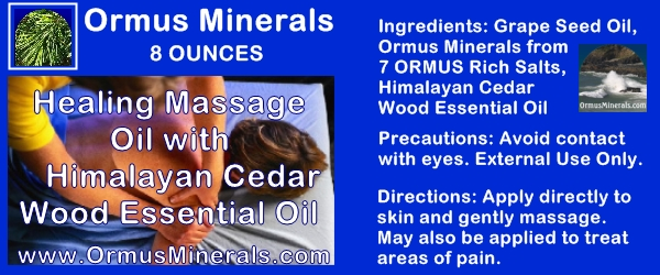 Ormus Minerals Healing Massage Oils With Himalayan Ceder Wood Essential Oil 8 oz