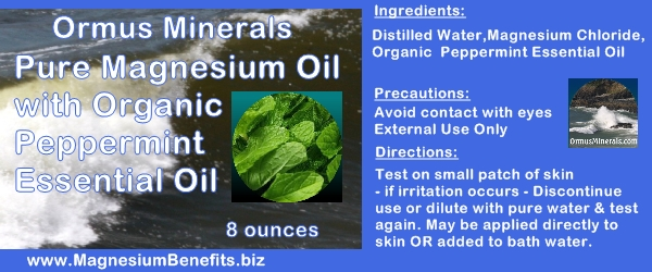 Ormus Minerals PURE MAGNESIUM OIL with Organic Peppermint Essential Oil